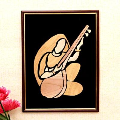 Alaukik Prem Meera Bai Wooden Relief Painting