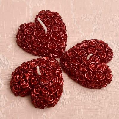 Alluring Heart Shape Candle Votives Set of 3
