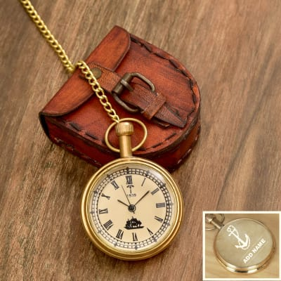 Anchor Designed Personalized Brass Pocket Watch