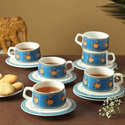 Animal Print Cups with Saucers (Set of 6)