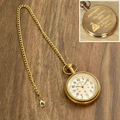 Antique Brass Finish Personalized Pocket Watch Hand Wind With Chain