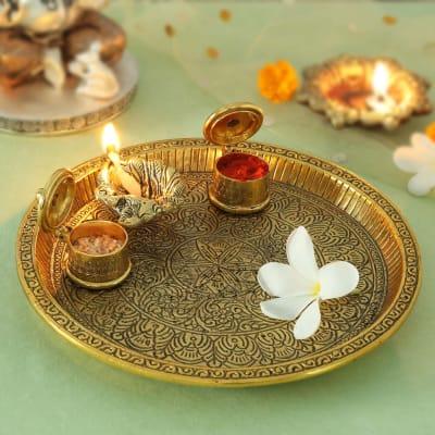 Antique Brass Finish Puja Thali with Diya