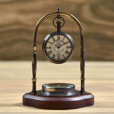 Antique Finish Brass Victoria London Desk Clock With Compass On Sheesham Wood Base