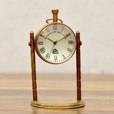 Antique Finish Solid Brass Victorian Design Globe Pillar Table Clock