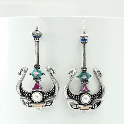 Antique Rajasthani Meenawork Earrings with Pearls