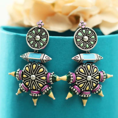 Antique Rajasthani Meenawork Handmade Earrings