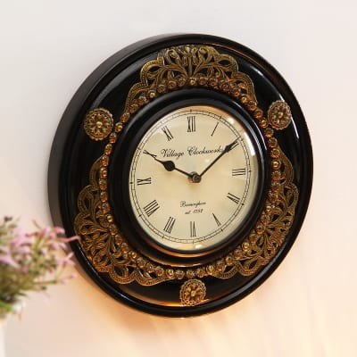 Antique Wooden Metal Embossed Wall Clock