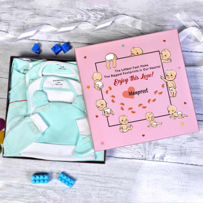 Apparel Gift Set for Newborn in Personalized Gift Box (8 Pcs)