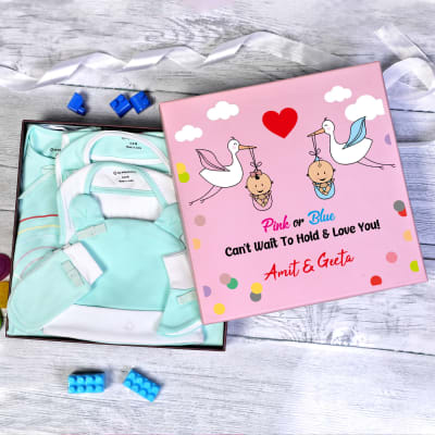 Apparel Gift Set in Personalized Gift Box for Baby Shower (8 Pcs)
