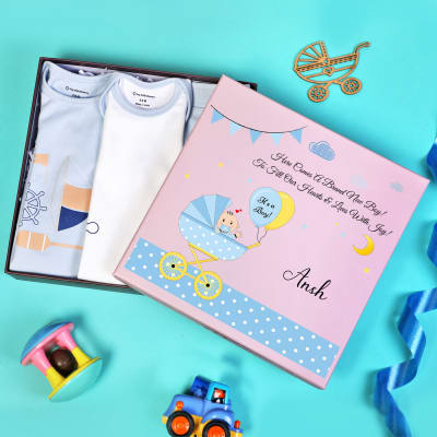 Apparels Set for Newborn Baby Boy in Personalized Box (3 Pcs)