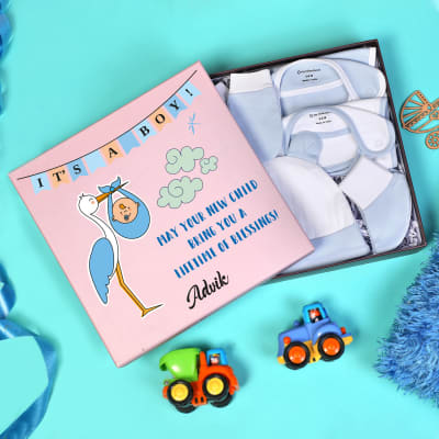 Apparels Set for Newborn Baby Boy in Personalized Box (5 Pcs)