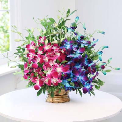 Arrangement Of 10 Blue Purple Orchids In A Basket