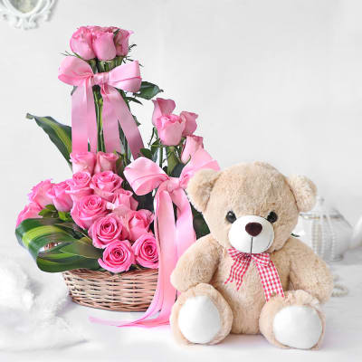 Arrangement of Lovely Pink Roses with Teddy