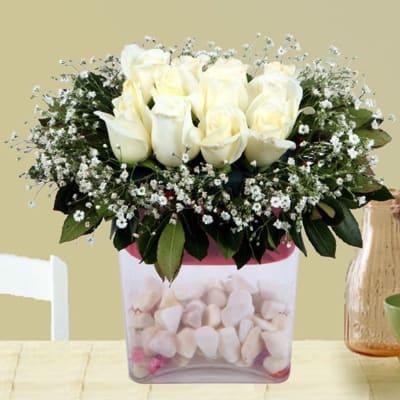 Arrangement of White Roses