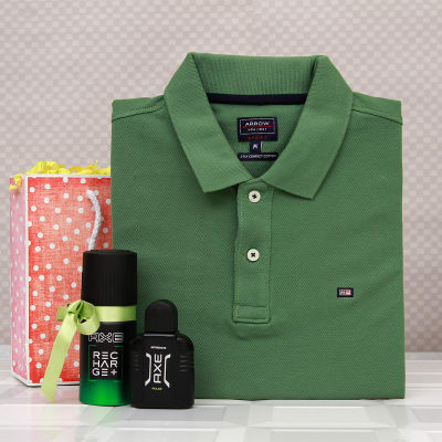 Arrow Green T Shirt With Axe After Shave And Deo In A Gift Bag