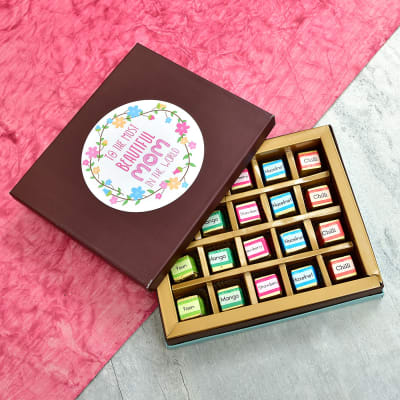 Assorted 20 Pcs Flavors Truffle Chocolates in Mom Quote Gift Box