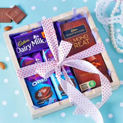 Assorted Cadbury Chocolates in Wooden Tray