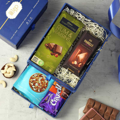 Assorted Chocolate Bars and Dry Fruits Hamper
