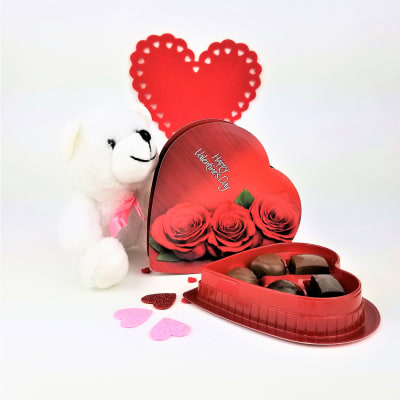 Assorted Chocolates in Heart Shaped Box with Teddy