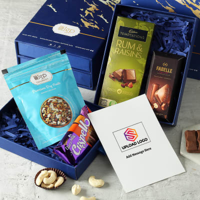 Assorted Chocolates With Dryfruits Hamper - Customized With Logo And Message
