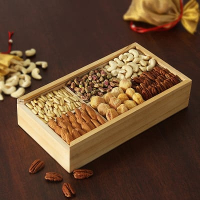 Assorted Dry Fruits In Wooden Box