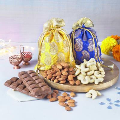 Assorted Dryfruits 400Gms With Bhaidooj Card & Roli Chawal With Dairy Milk Silk