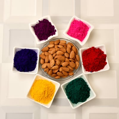 Assorted Holi Gulal with Almonds
