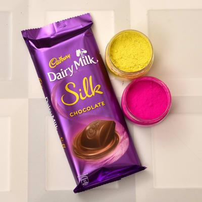 Assorted Holi Gulal with Cadbury Dairy Milk Silk
