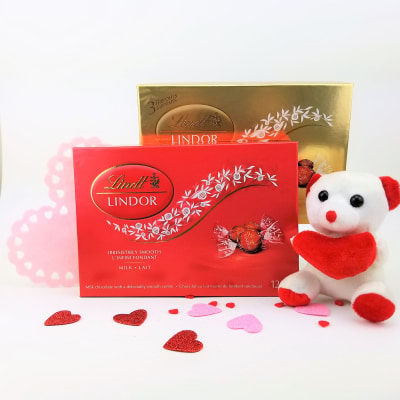 Assorted Lindt Lindor Chocolate Packs with Cute Teddy