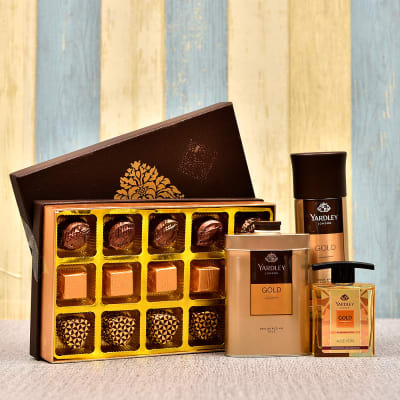 Assorted Milk and Almonds Dark Chocolates with Yardley Gift Set for Men