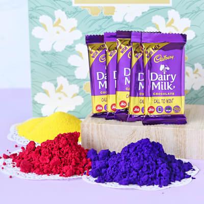 Assorted Organic Holi Gulal with Cadbury Bars