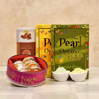 Assorted Organic Holi Gulal with Kaju Gujiya