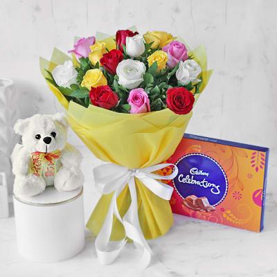 Assorted Roses Bouquet with Cadbury Celebrations & Teddy Bear