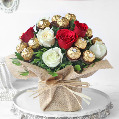 Assorted Roses & Ferrero Rocher Chocolates in Vase
