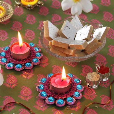 Stunning Pink Blue Stone Work Diyas Gift Send Diwali Gifts OnlineJ11042815