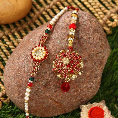 Auspicious Metallic Bhaiya Bhabhi Rakhi