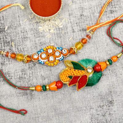 Auspicious Multicolored Rakhi Set