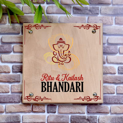 Auspicious Personalized Wooden Name Plate