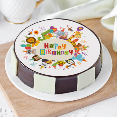Baby Animals Zoo Birthday Cake (Eggless) (Half Kg)