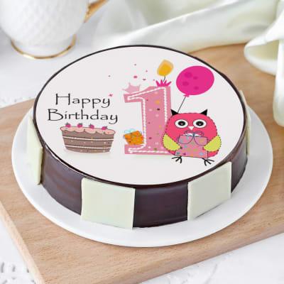 Fantastic Order Baby Owl First Birthday Cake Half Kg Online At Best Price Funny Birthday Cards Online Hendilapandamsfinfo