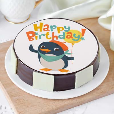 Baby Penguin Birthday Cake (Eggless) (Half Kg)