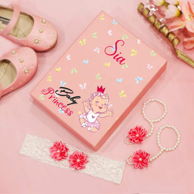 Baby Princess Set of Headband & Barefoot Sandals in Personalized Box