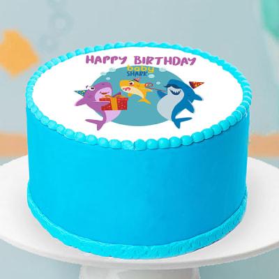 Baby Sharks Photo Fondant Cake (3 Kg)