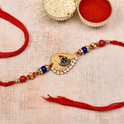 Balaji Meena Work Metallic Rakhi with Beads