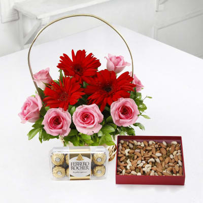 Gifts for elderly couples buy online gifts for couples igp basket of 10 mixed flowers with 400 gms dryfruits ferrero rocher negle Images