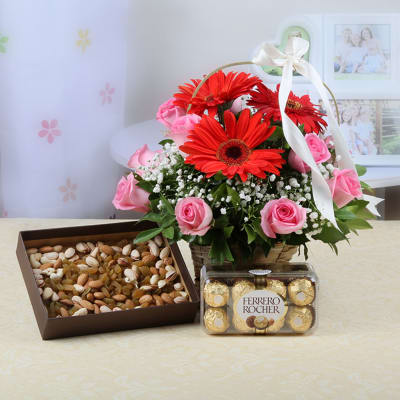 Gifts for elderly couples buy online gifts for couples igp basket of 12 mixed flowers with 400 gms dryfruits ferrero rocher negle Images