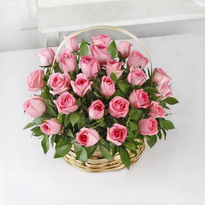 Basket of 25 Pink Roses