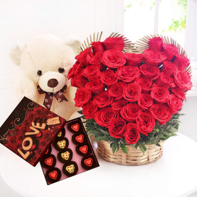 Basket of 35 Roses with Teddy & Chocolates