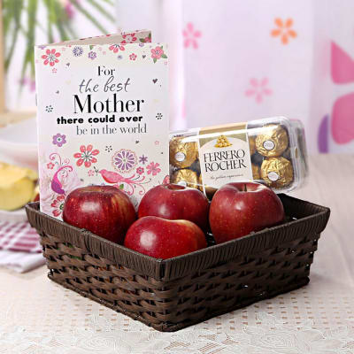Send mothers day gifts to bangalore gifts for mother in bangalore basket of apples with 16 pcs ferrero rocher box greeting card negle Images