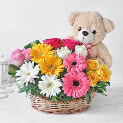 Basket of Assorted Roses & Gerberas with Teddy